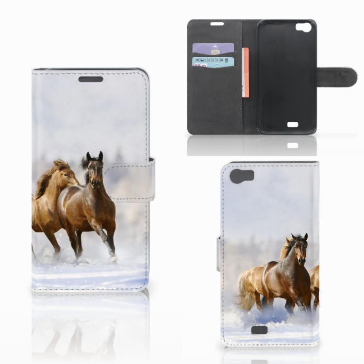 Wiko Lenny Telefoonhoesje met Pasjes Paarden