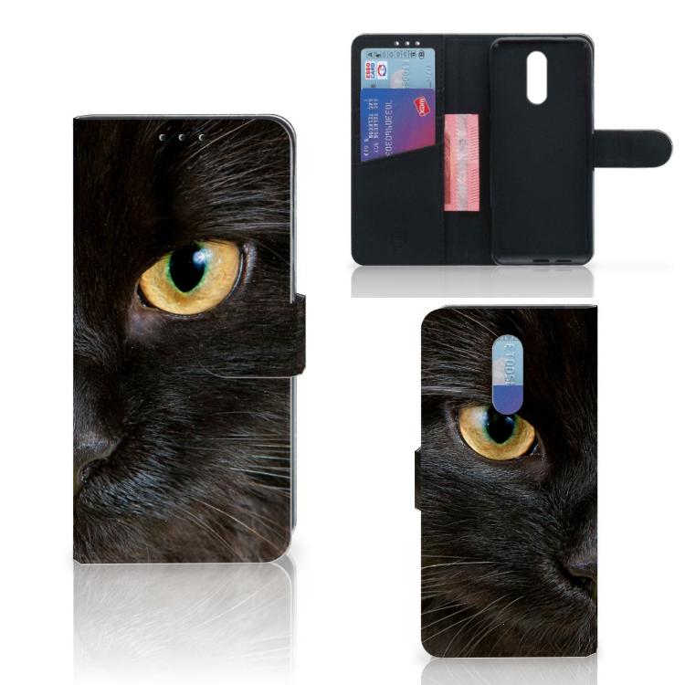 Nokia 3.2 Telefoonhoesje met Pasjes Zwarte Kat