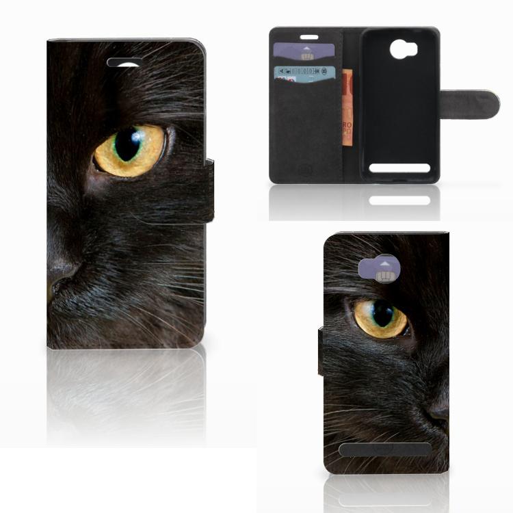 Huawei Y3 2 | Y3 II Telefoonhoesje met Pasjes Zwarte Kat