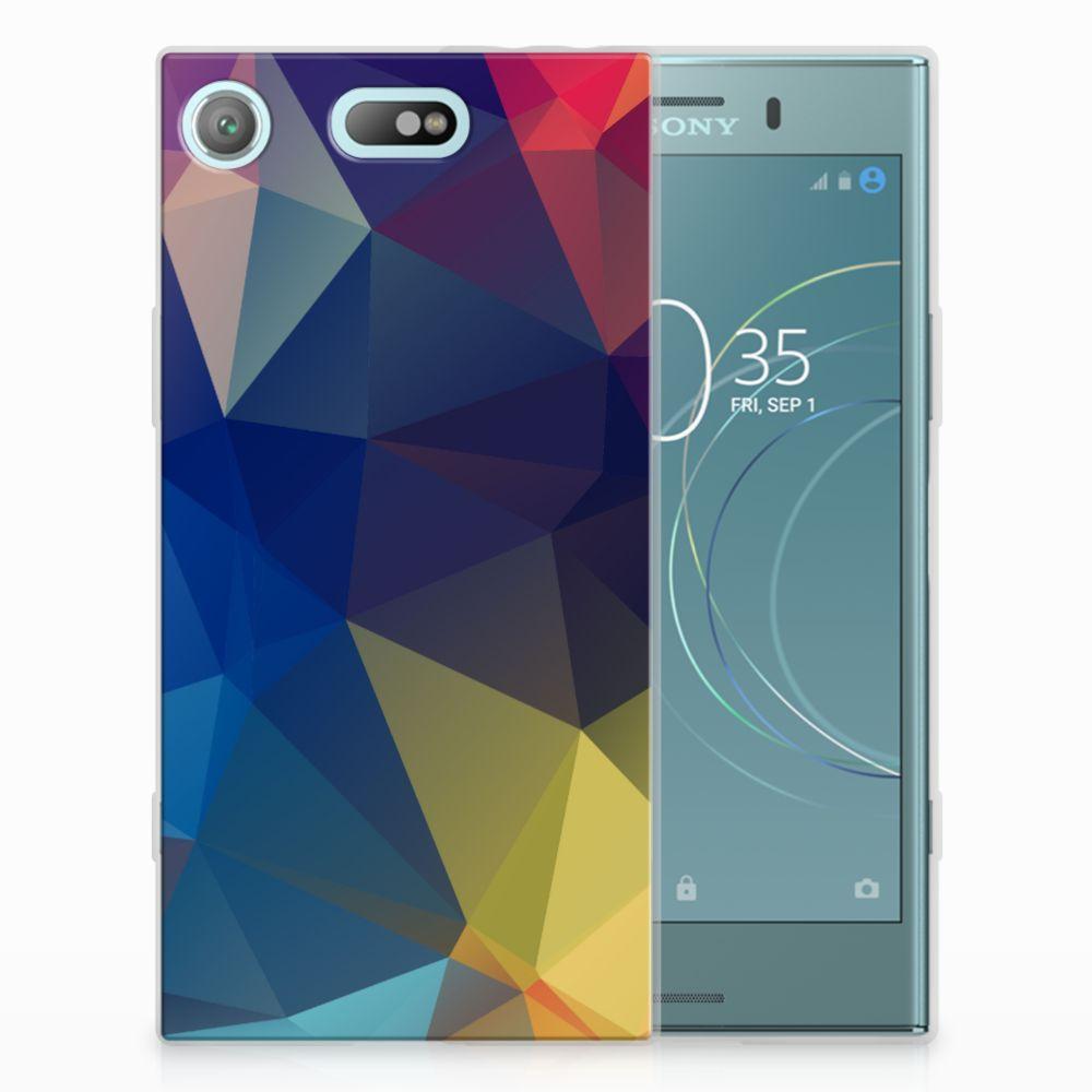 Sony Xperia XZ1 Compact Uniek TPU Hoesje Polygon Dark