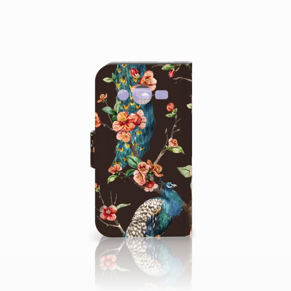 Samsung Galaxy Core 2 Telefoonhoesje met Pasjes Pauw met Bloemen