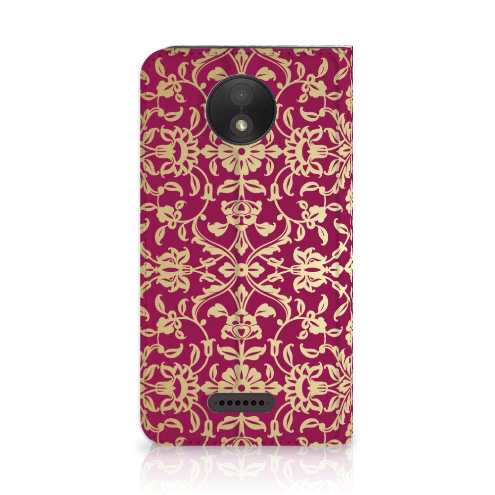 Motorola Moto C Plus Standcase Hoesje Design Barok Pink