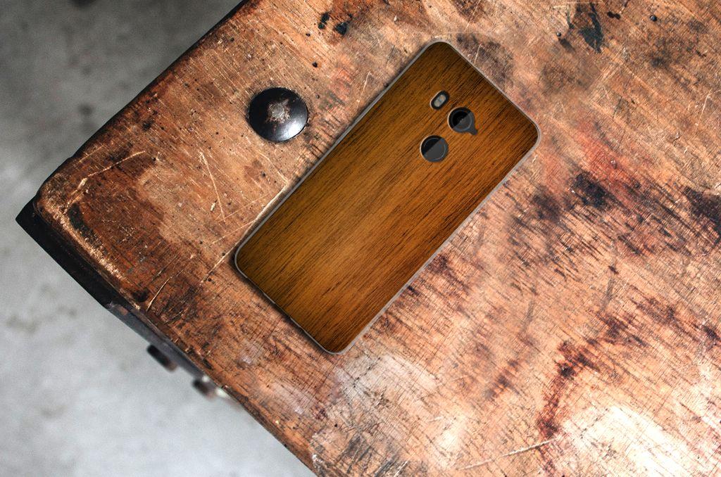HTC U11 Plus Bumper Hoesje Donker Hout