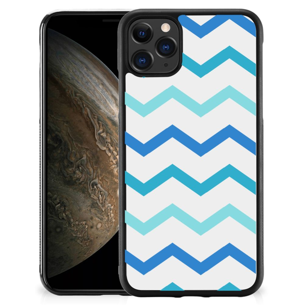 Apple iPhone 11 Pro Bumper Case Zigzag Blauw