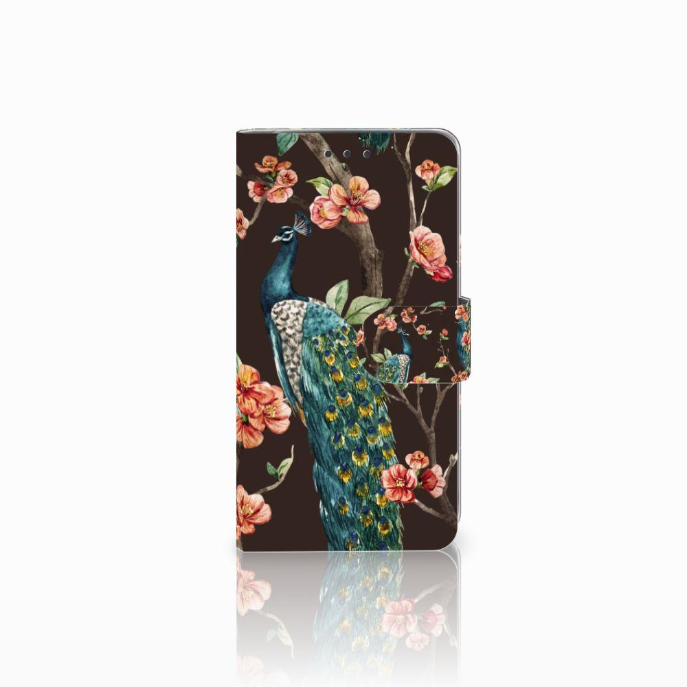 LG Q6 | LG Q6 Plus Boekhoesje Design Pauw met Bloemen