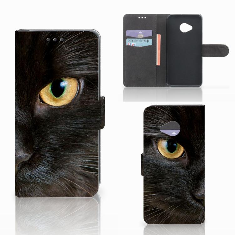 HTC U11 Life Telefoonhoesje met Pasjes Zwarte Kat