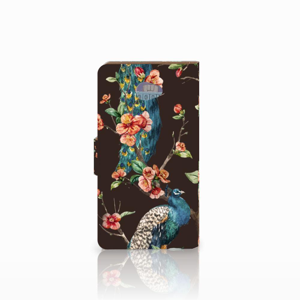 HTC Desire 601 Telefoonhoesje met Pasjes Pauw met Bloemen