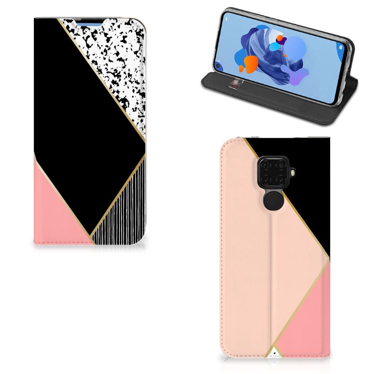 Huawei Mate 30 Lite Stand Case Zwart Roze Vormen