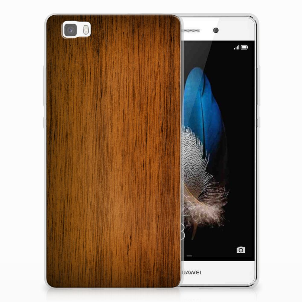 Huawei Ascend P8 Lite Uniek TPU Hoesje Donker Hout