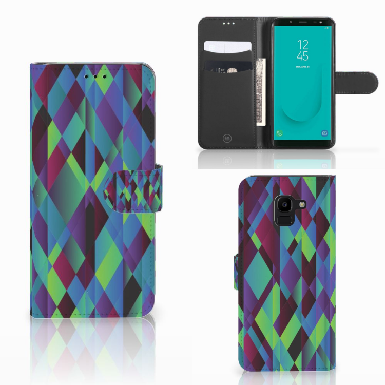 Samsung Galaxy J6 2018 Bookcase Abstract Green Blue