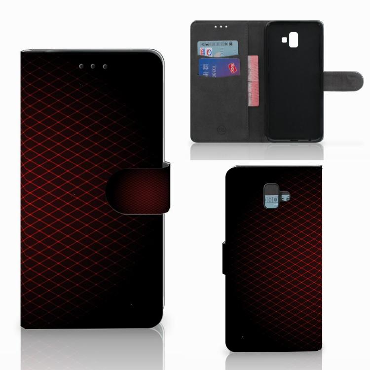 Samsung Galaxy J6 Plus (2018) Telefoon Hoesje Geruit Rood