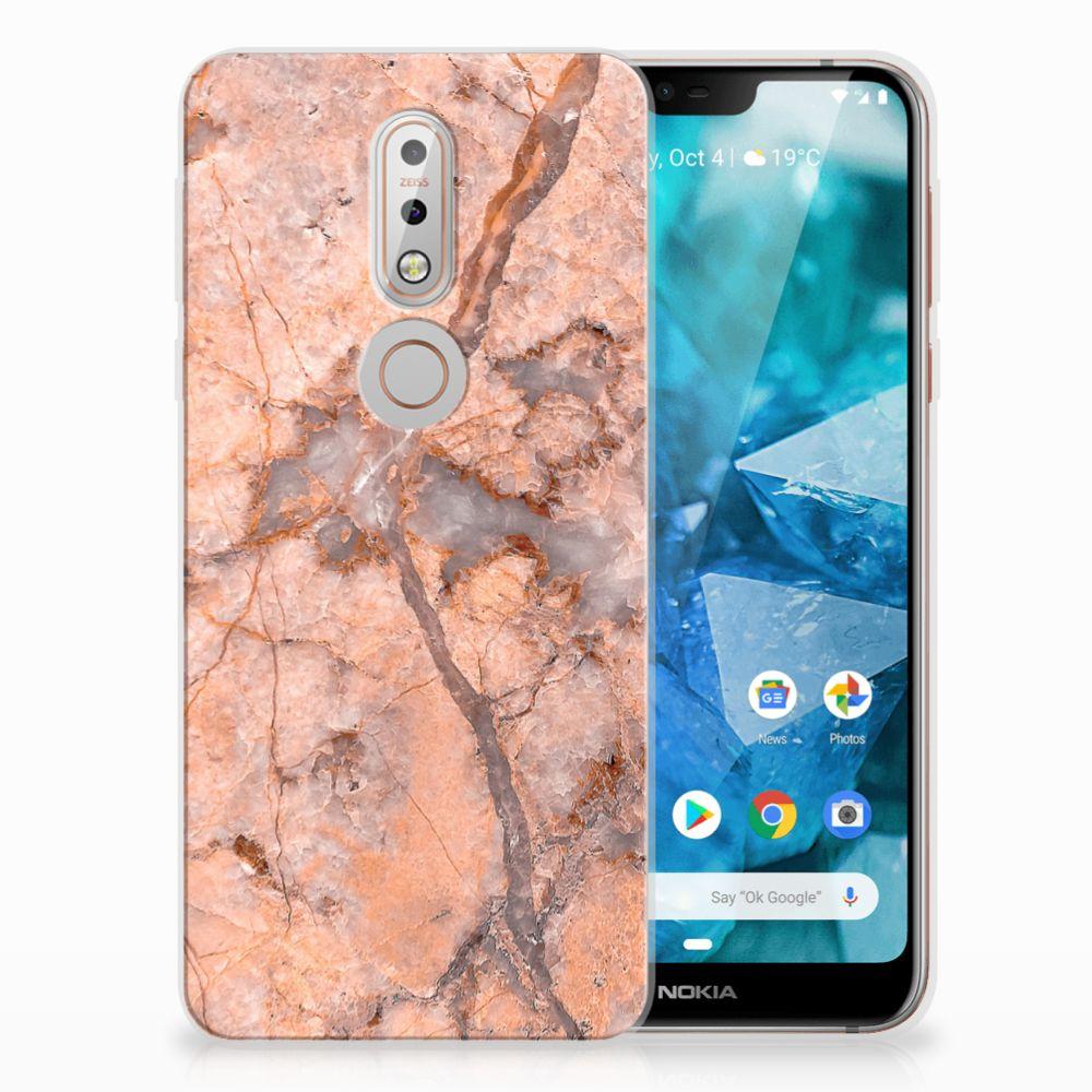 Nokia 7.1 TPU Hoesje Design Marmer Oranje