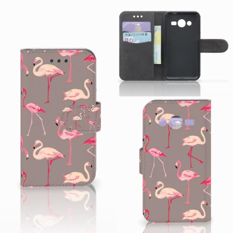 Samsung Galaxy Core 2 Telefoonhoesje met Pasjes Flamingo