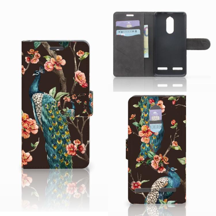 Lenovo K6 Telefoonhoesje met Pasjes Pauw met Bloemen