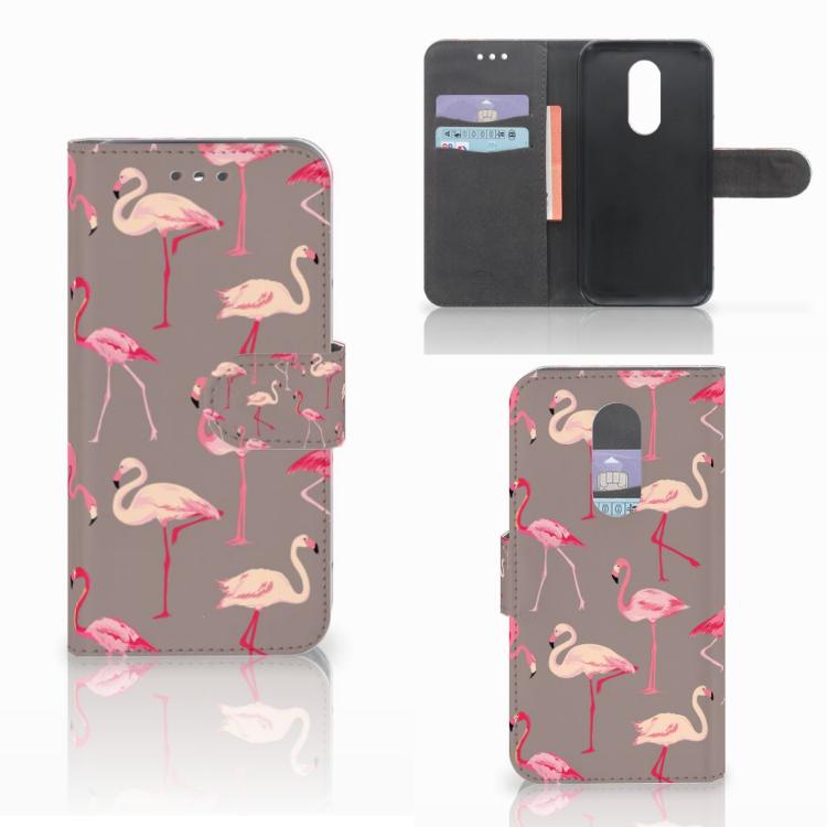 Wiko Wim Lite Telefoonhoesje met Pasjes Flamingo