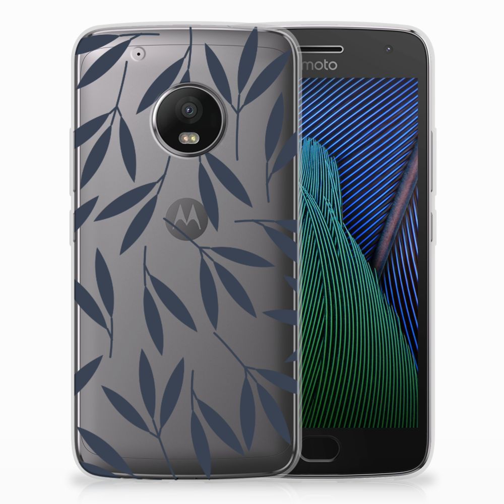Motorola Moto G5 Plus TPU Hoesje Design Leaves Blue