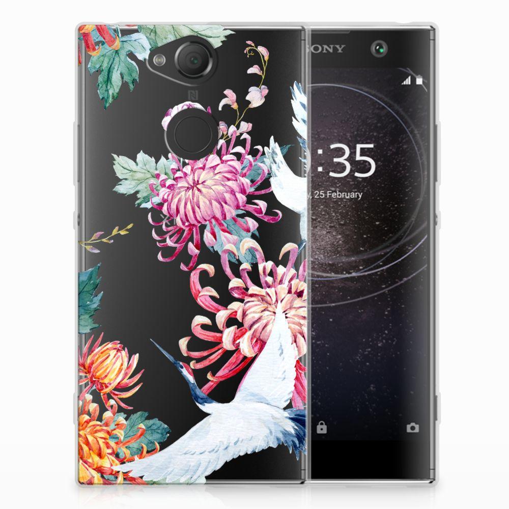 Sony Xperia XA2 Uniek TPU Hoesje Bird Flowers