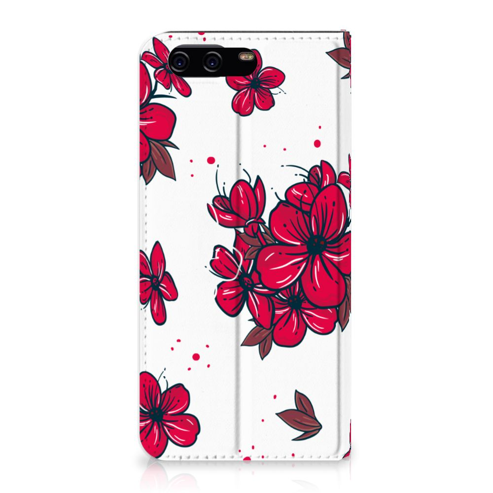 Huawei P10 Standcase Hoesje Design Blossom Red