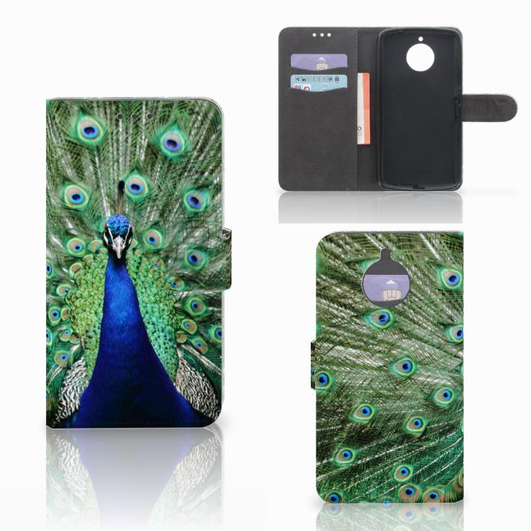 Motorola Moto E4 Plus Telefoonhoesje met Pasjes Pauw