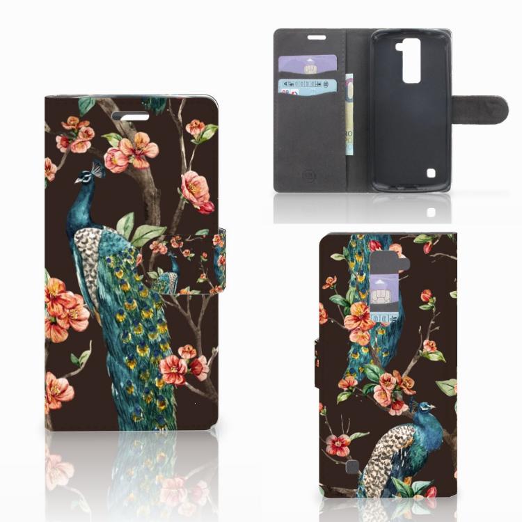 LG K10 2015 Telefoonhoesje met Pasjes Pauw met Bloemen