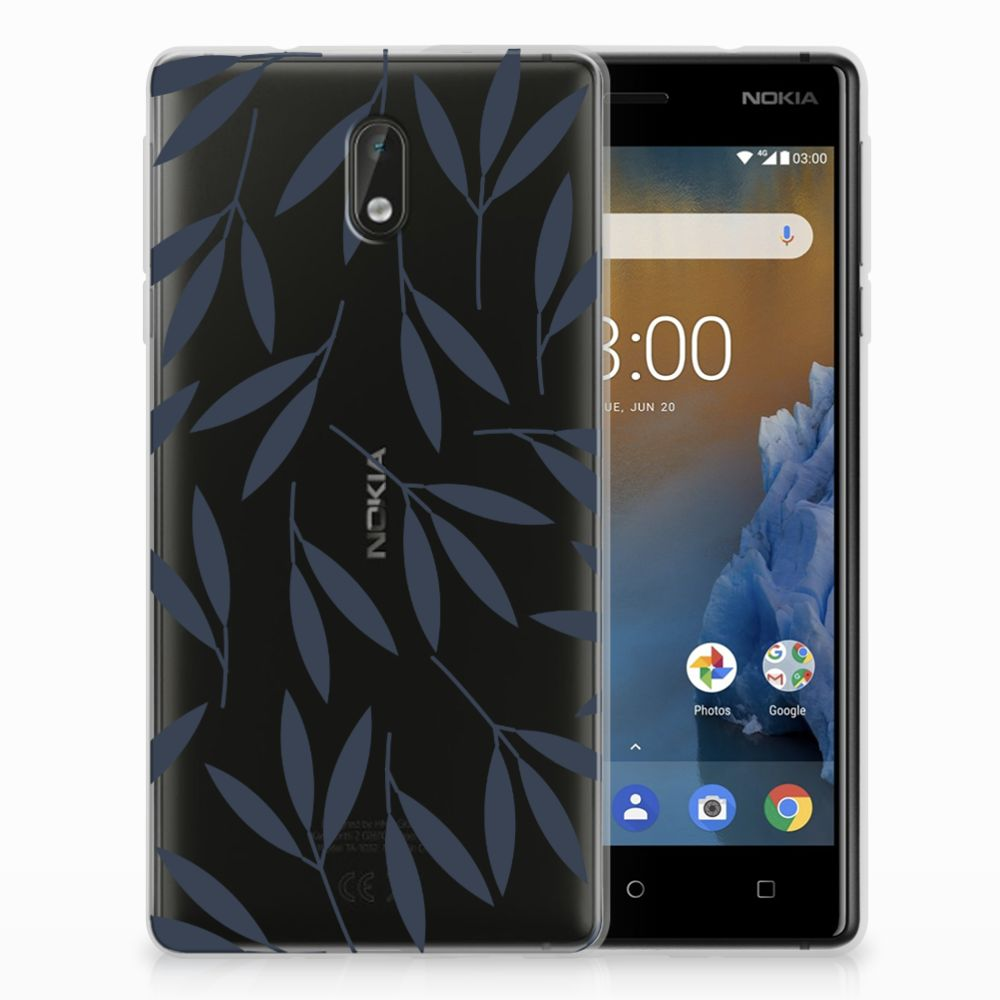 Nokia 3 TPU Hoesje Design Leaves Blue