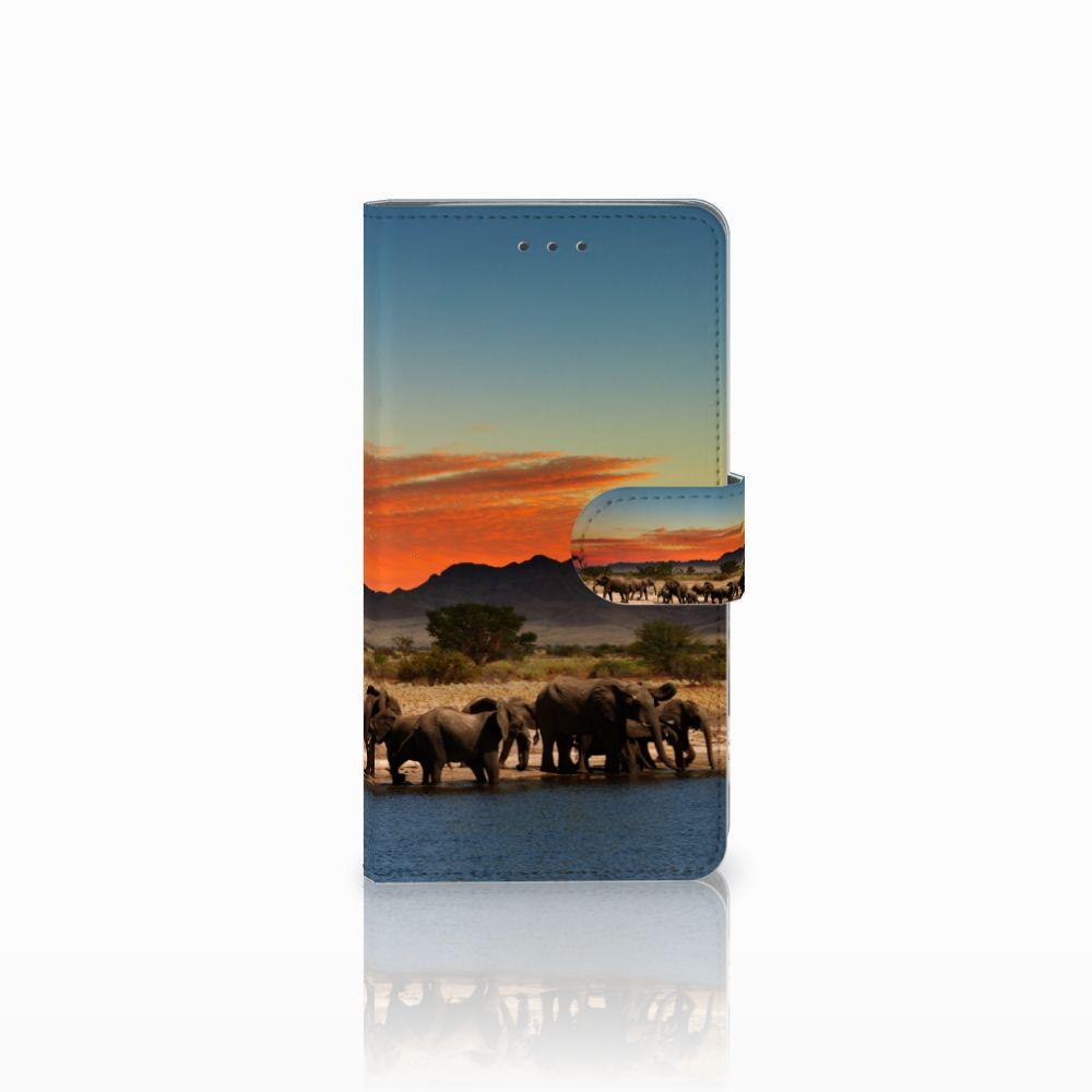 Samsung Galaxy J7 2016 Telefoonhoesje met Pasjes Olifanten