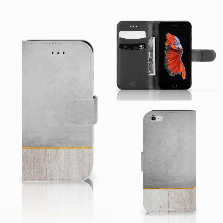 Apple iPhone 6 | 6s Book Style Case Wood Concrete