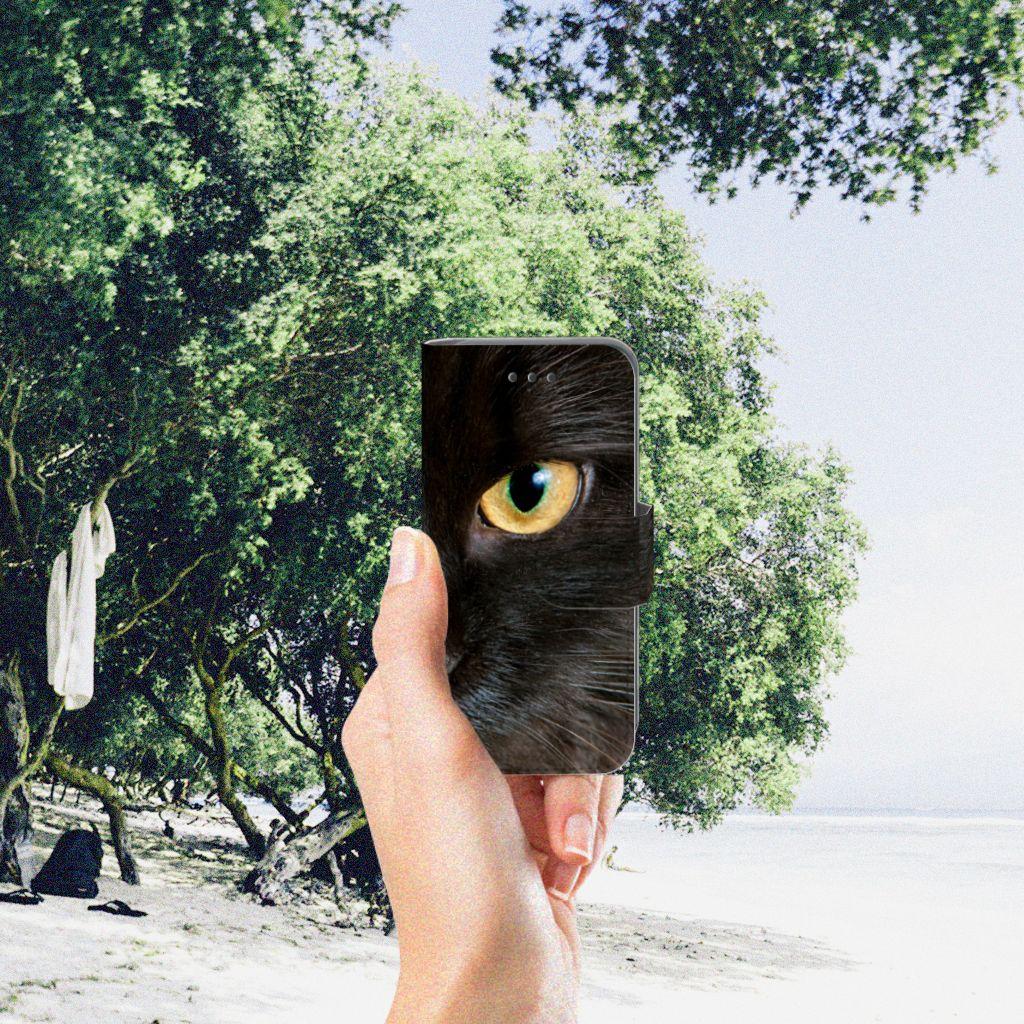 Apple iPod Touch 5 | 6 | iPod (2019) Telefoonhoesje met Pasjes Zwarte Kat