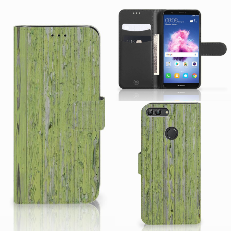 Huawei P Smart Boekhoesje Design Green Wood