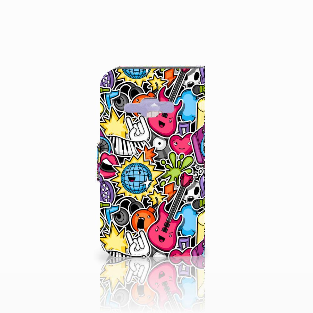 Samsung Galaxy J1 2016 Wallet Case met Pasjes Punk Rock