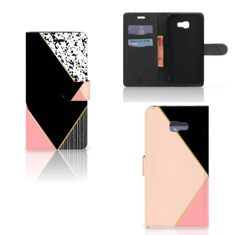 Samsung Galaxy A7 2017 Bookcase Zwart Roze Vormen