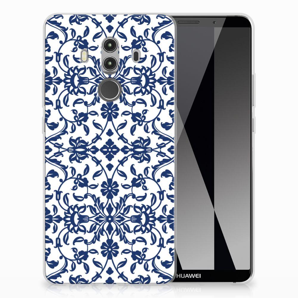 Huawei Mate 10 Pro Uniek TPU Hoesje Flower Blue