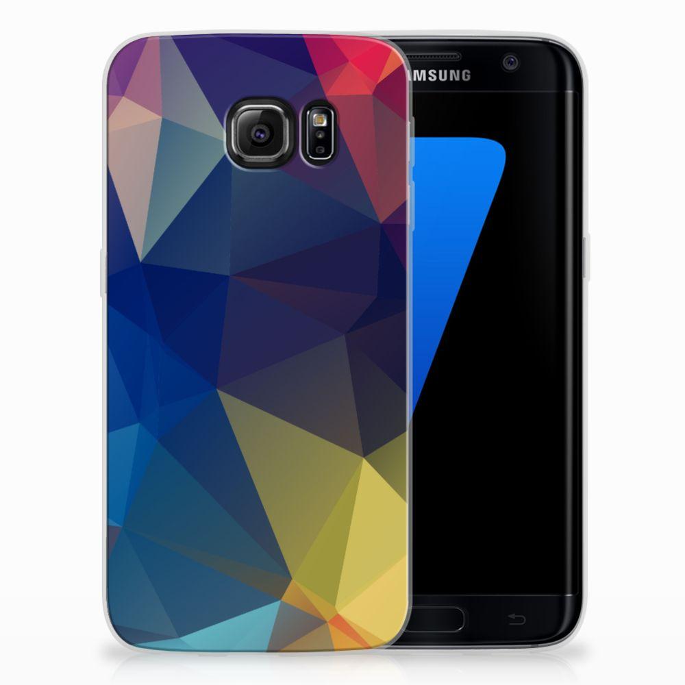 Samsung Galaxy S7 Edge Uniek TPU Hoesje Polygon Dark