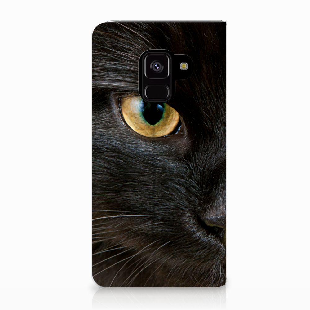 Samsung Galaxy A8 (2018) Uniek Standcase Hoesje Zwarte Kat