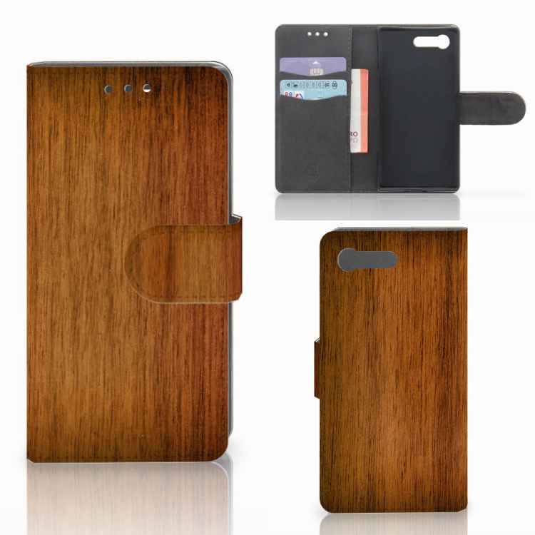Sony Xperia X Compact Book Style Case Donker Hout