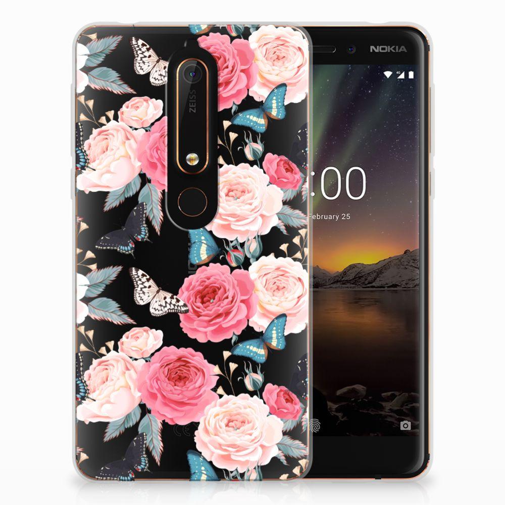 Nokia 6 (2018) Uniek TPU Hoesje Butterfly Roses
