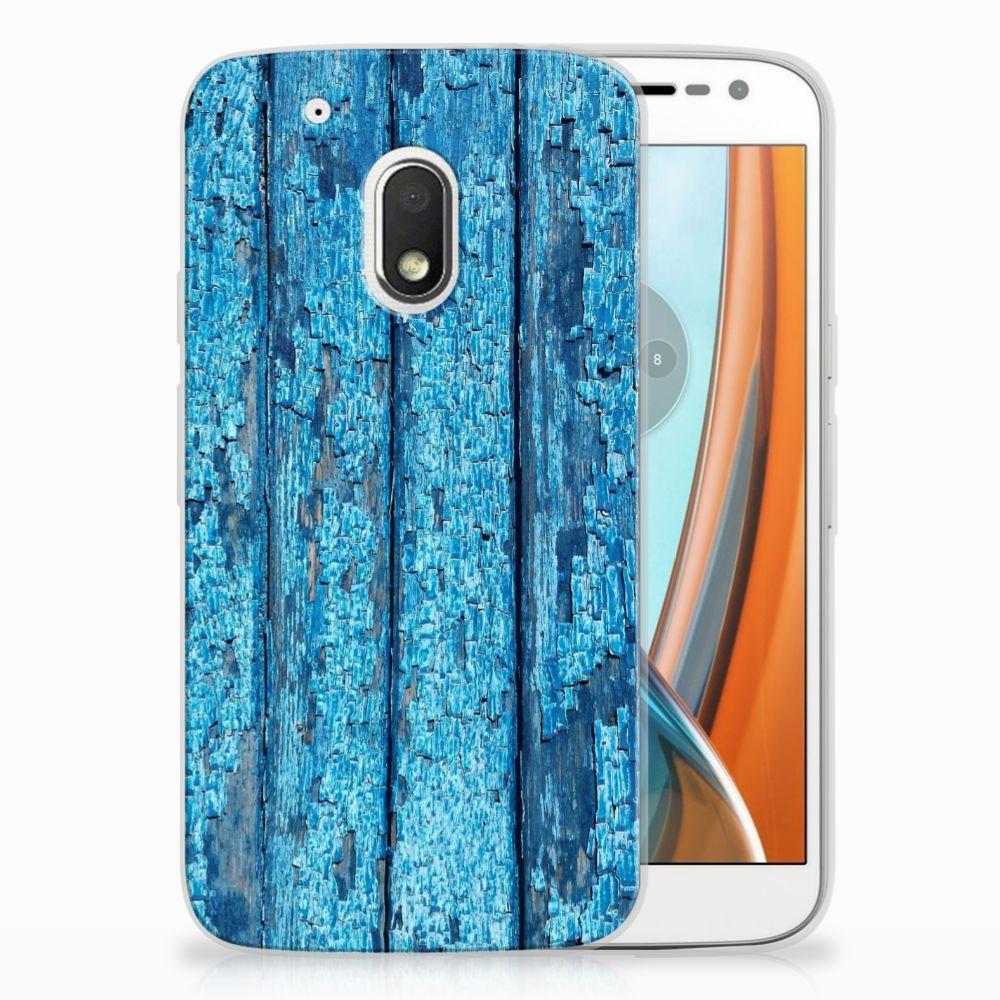 Motorola Moto G4 Play Uniek TPU Hoesje Wood Blue