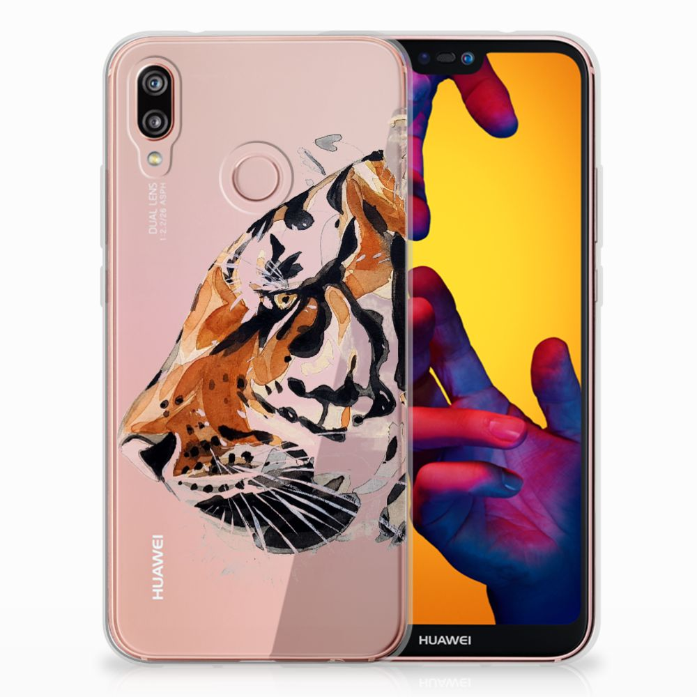 Huawei P20 Lite Uniek TPU Hoesje Watercolor Tiger