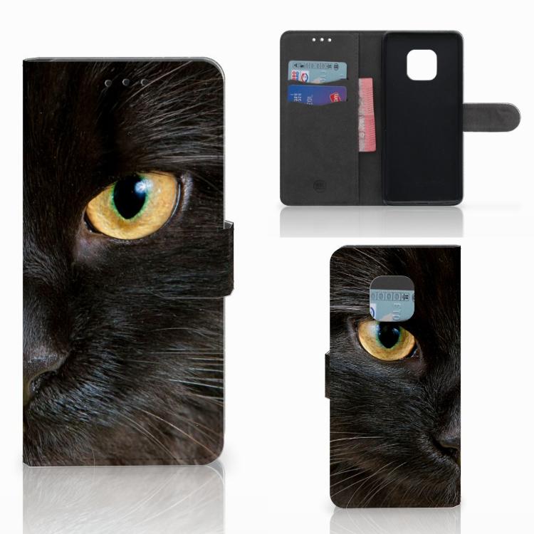 Huawei Mate 20 Pro Telefoonhoesje met Pasjes Zwarte Kat