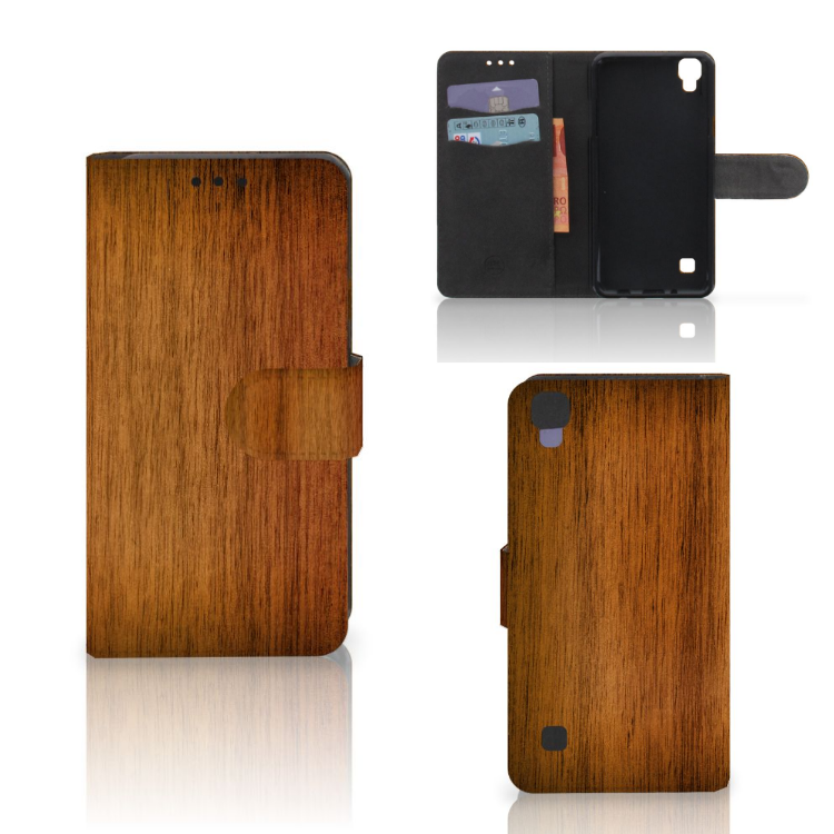 LG X Style Book Style Case Donker Hout