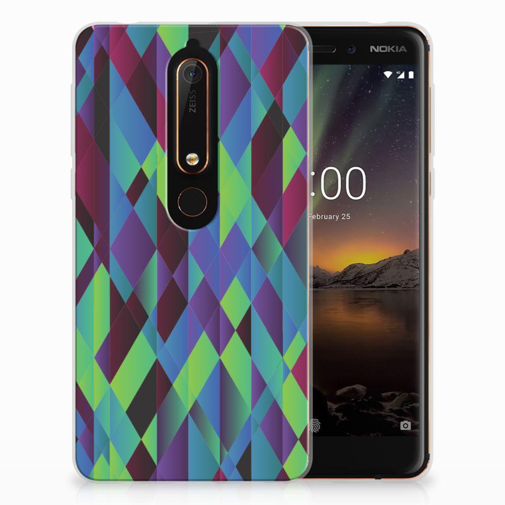 Nokia 6 (2018) TPU Hoesje Abstract Green Blue