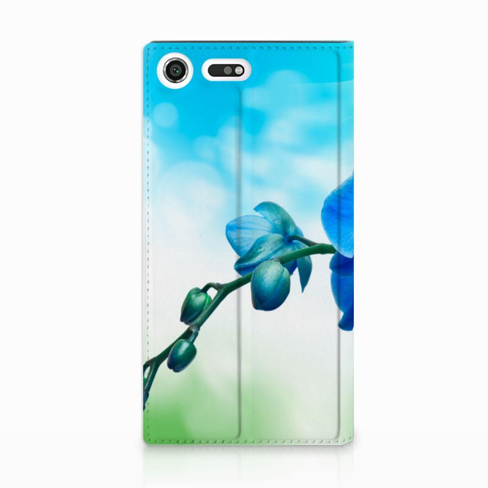 Sony Xperia XZ Premium Standcase Hoesje Design Orchidee Blauw