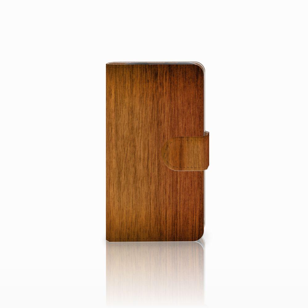 HTC Desire 310 Uniek Boekhoesje Donker Hout
