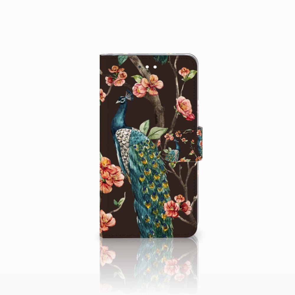 Huawei Ascend G7 Telefoonhoesje met Pasjes Pauw met Bloemen
