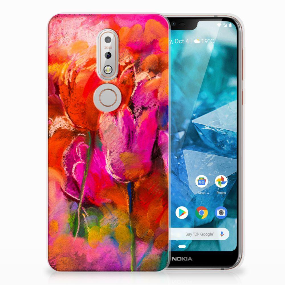 Nokia 7.1 TPU Hoesje Design Tulips