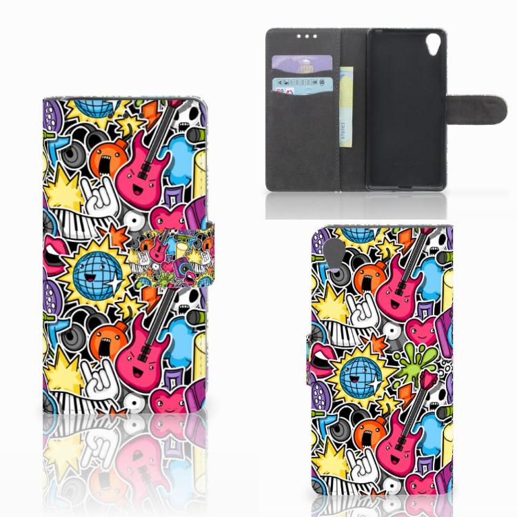Sony Xperia X Wallet Case met Pasjes Punk Rock
