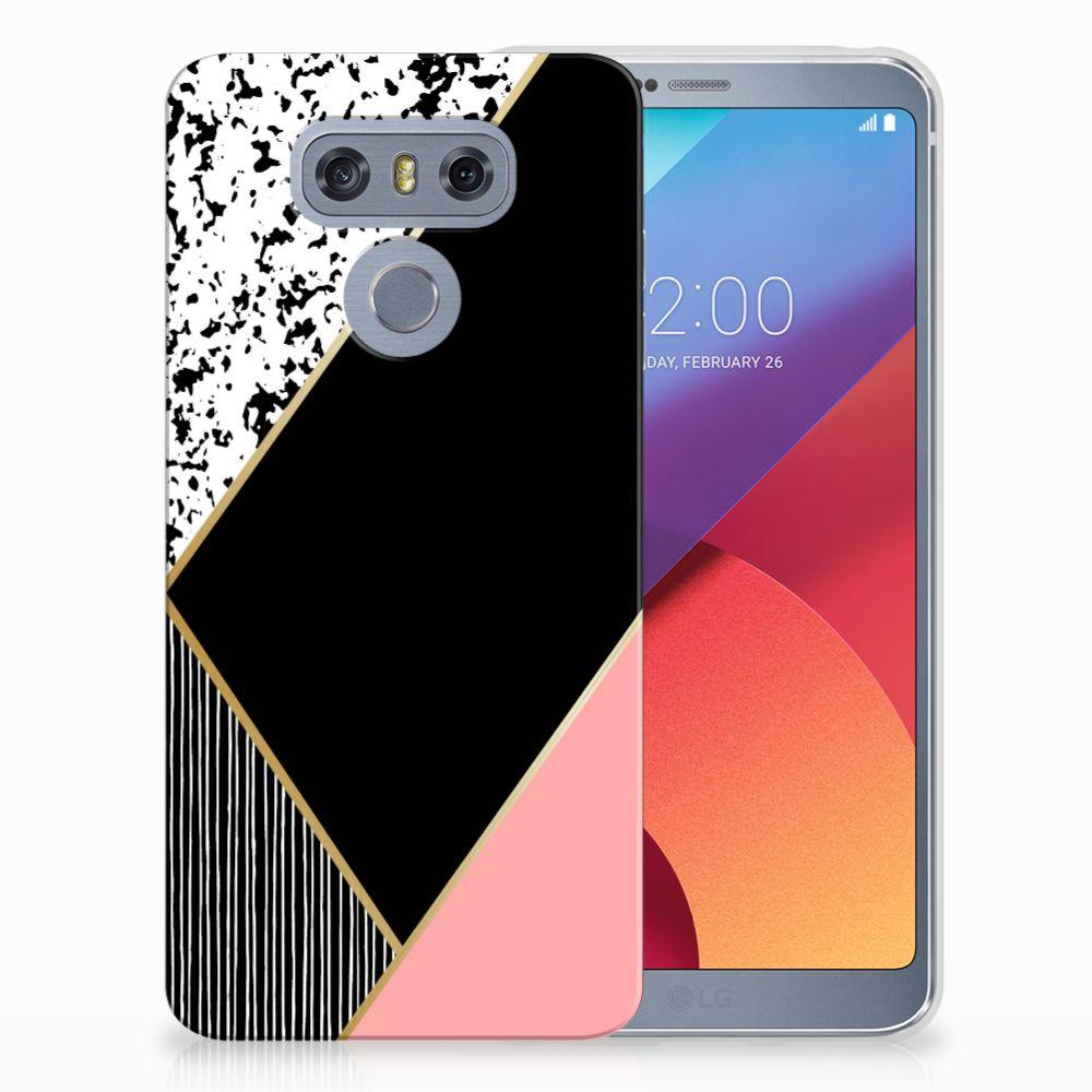 LG G6 Uniek TPU Hoesje Black Pink Shapes