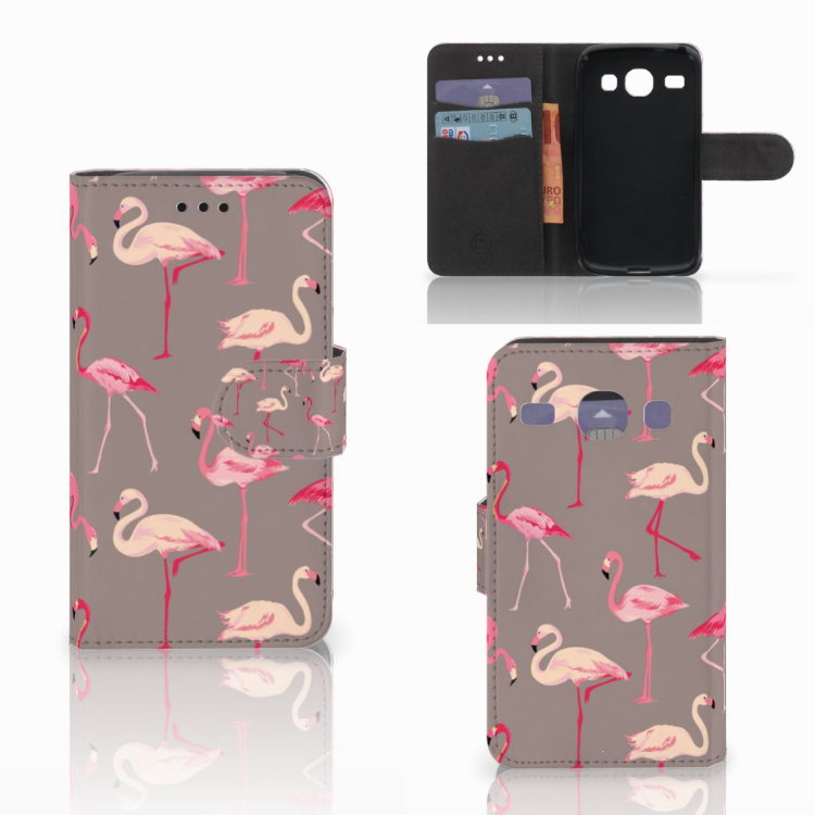 Samsung Galaxy Core i8260 Telefoonhoesje met Pasjes Flamingo