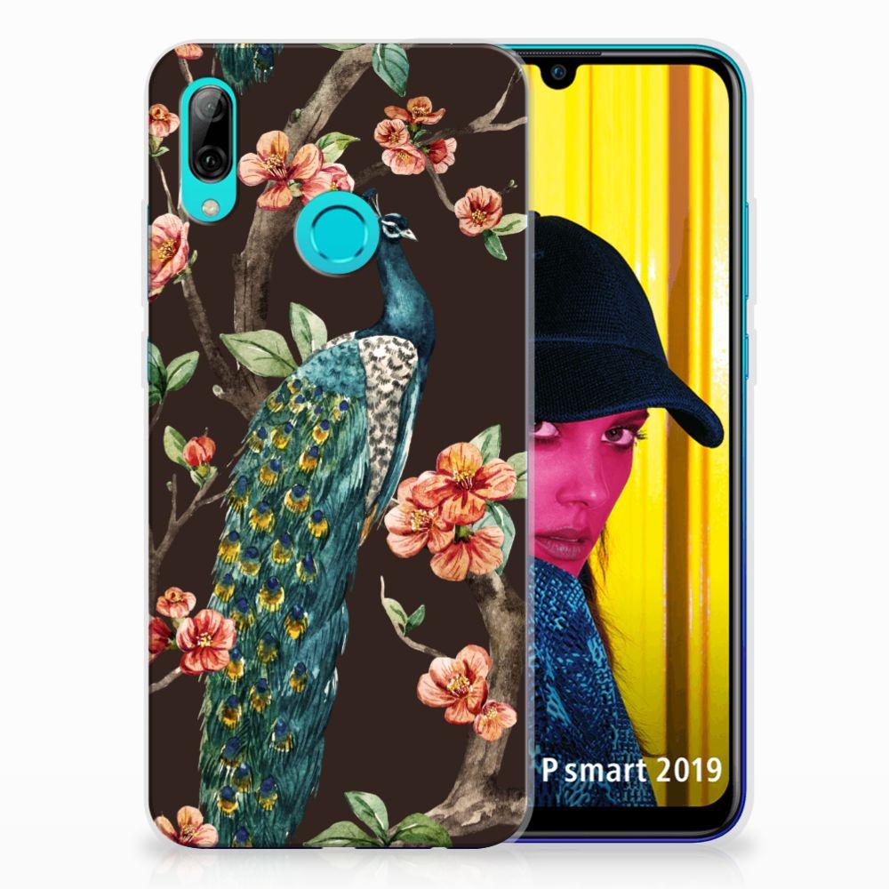 Huawei P Smart 2019 TPU Hoesje Pauw met Bloemen