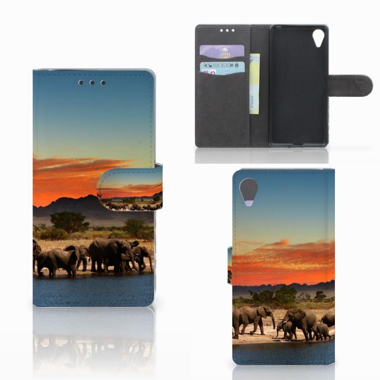 Sony Xperia X Performance Telefoonhoesje met Pasjes Olifanten